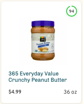 365 Everyday Value Crunchy Peanut Butter Nutrition and Ingredients
