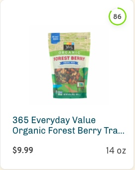 365 Everyday Value Organic Forest Berry Trail Mix Nutrition and Ingredients