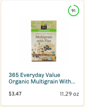 365 Everyday Value Organic Multigrain with Flax Nutrition and Ingredients