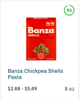 Banza Chickpea Shells Pasta Nutrition and Ingredients