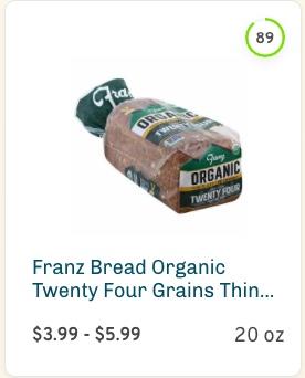 Franz Bread Organic Twenty Four Grains Thin Sliced Nutrition and Ingredients
