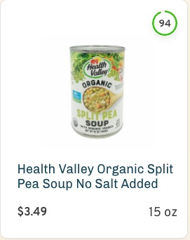 Health Valley Organic Split Pea Soup No Salt Added nutrition and ingredients