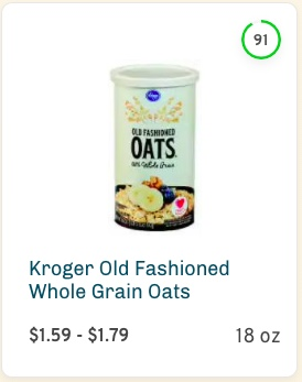 Kroger Old Fashioned Whole Grain Oats Nutrition and Ingredients