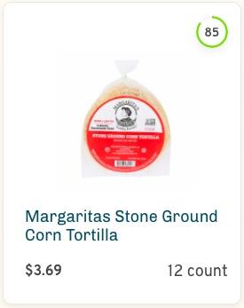 Margaritas Stone Ground Corn Tortilla Nutrition and Ingredients
