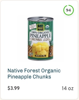 Native Forest Organic Pineapple Chunks Nutrition and Ingredients