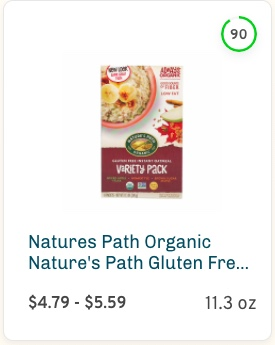 Natures Path Organic Gluten Free Oatmeal Variety Pack Brown Sugar Maple Nutrition and Ingredients