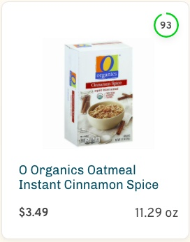 O Organics Instant Cinnamon Spice Oatmeal Nutrition and Ingredients