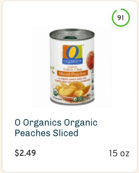 O Organics Organic Peaches Sliced Nutrition and Ingredients