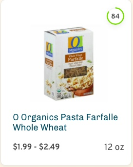 O Organics Pasta Farfalle Whole Wheat Nutrition and Ingredients
