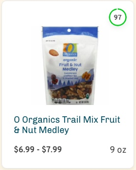 O Organics Trail Mix Fruit & Nut Medley Nutrition and Ingredients