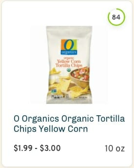 O Organics Yellow Corn Tortilla Chips Nutrition and Ingredients