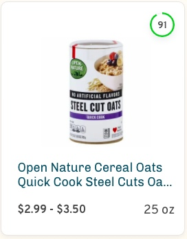 Open Nature Cereal Oats Quick Cook Steel Cuts Oats Jar Nutrition and Ingredients