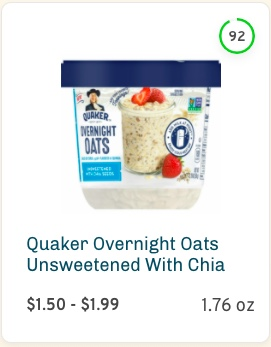 Quaker Overnight Oats with Chia Nutrition and Ingredients