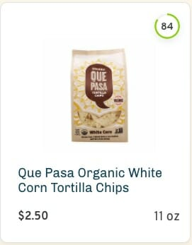 Que pasa organic white corn tortilla chips nutrition and ingredients