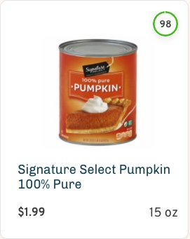 Signature Select 100% Pure Pumpkin Nutrition and Ingredients