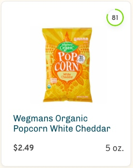 Wegmans Organic Popcorn White Cheddar Nutrition and Ingredients