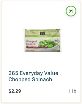 365 Everyday Value Chopped Spinach Nutrition and ingredients