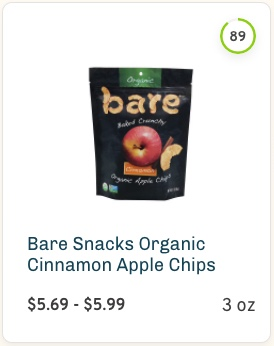 Bare Snacks Organic Cinnamon Apple Chips nutrition and ingredients