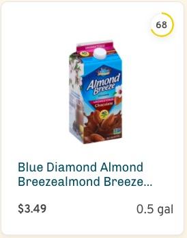 Blue Diamond Almond Breezealmond Breeze Chocolate Milk Unsweetened Nutrition and Ingredients