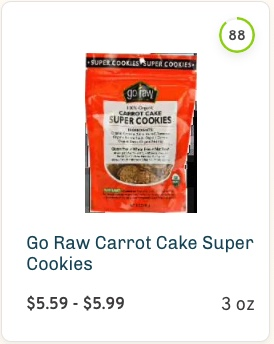 Go Raw Carrot Cake Super Cookies nutrition and ingredients