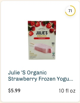 Julie 'S Organic Strawberry Frozen Yogurt Bars nutrition and ingredients