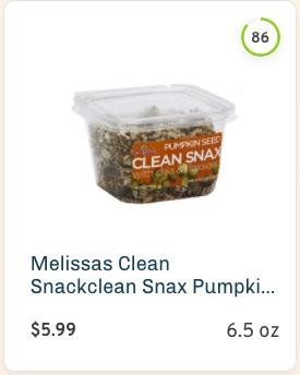 Melissas Clean Snackclean Snax Pumpkin Seeds nutrition and ingredients