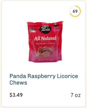 Panda Raspberry Licorice Chews nutrition and ingredients