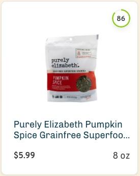 Purely Elizabeth Pumpkin Spice Grainfree Superfood Granola nutrition and ingredients