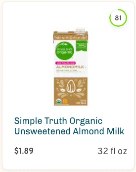 Simple Truth Organic Unsweetened Almond Milk Nutrition and Ingredients