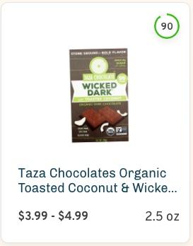 Taza Chocolates Organic Toasted Coconut & Wicked Dark Chocolate Bar