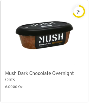 Mush Dark Chocolate Overnight Oats  Nutrition and Ingredients
