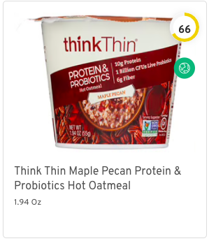 Think Thin Maple Pecan Protein & Probiotics Hot Oatmeal Nutrition and Ingredients