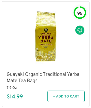 Guayaki Organic Traditional Yerba Mate Tea Bags Nutrition and Ingredients