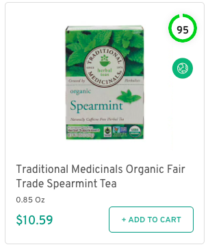 Traditional Medicinals Organic Fair Trade Spearmint Tea Nutrition and Ingredients