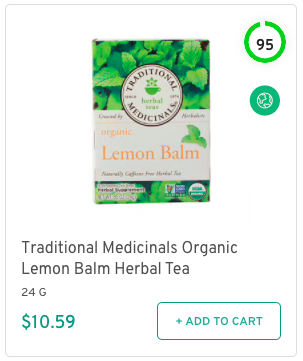 Traditional Medicinals Organic Lemon Balm Herbal Tea Nutrition and Ingredients