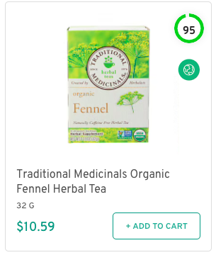 Traditional Medicinals Organic Fennel Herbal Tea Nutrition and Ingredients