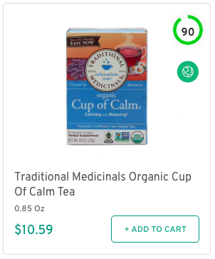 Traditional Medicinals Organic Cup Of Calm Tea Nutrition and Ingredients