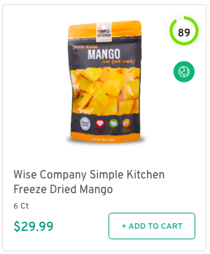 Wise Company Simple Kitchen Freeze Dried Mango Nutrition and Ingredients