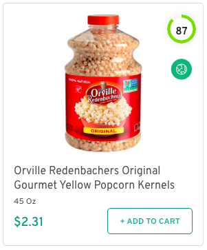 Orville Redenbachers Original Gourmet Yellow Popcorn Kernels Nutrition and Ingredients
