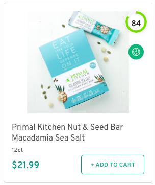 Primal Kitchen Nut & Seed Bar Macadamia Sea Salt Nutrition and Ingredients