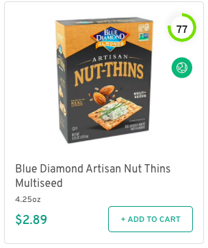 Blue Diamond Artisan Nut Thins Multiseed Nutrition and Ingredients