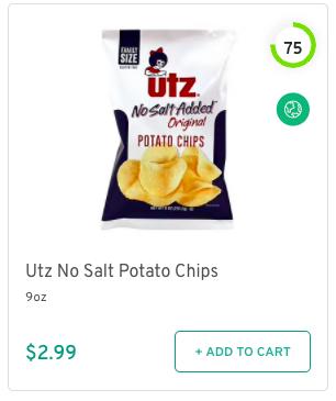 Utz No Salt Potato Chips Nutrition and Ingredients