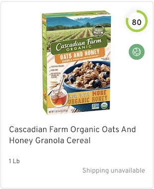 Cascadian Farm Organic Oats And Honey Granola Cereal Nutrition and Ingredients