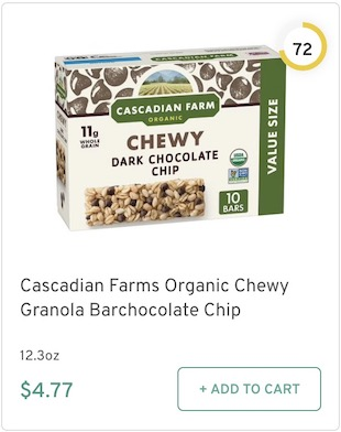 Cascadian Farms Organic Chewy Granola Bar chocolate Chip Nutrition and Ingredients