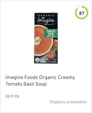 Imagine Foods Organic Creamy Tomato Basil Soup Nutrition and Ingredients