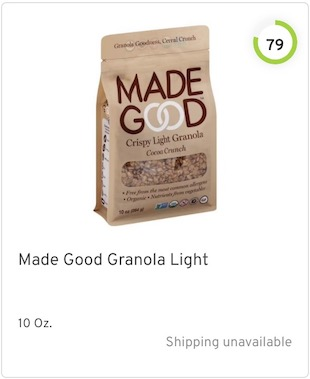 Made Good Granola Light Nutrition and Ingredients