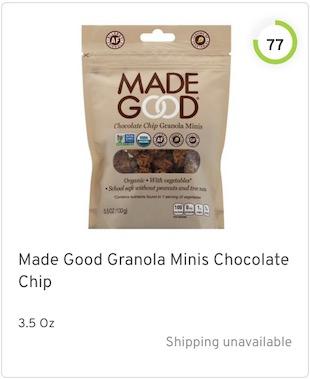 Made Good Granola Minis Chocolate ChipMade Good Granola Minis Chocolate Chip Nutrition and Ingredients