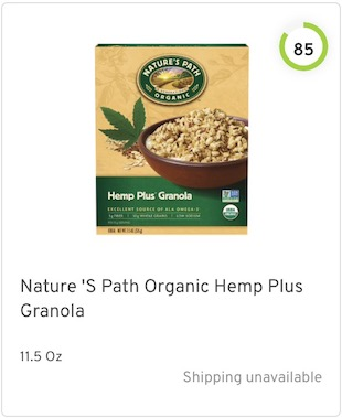 Nature 'S Path Organic Hemp Plus Granola Nutrition and Ingredients