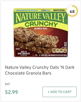 Nature Valley Crunchy Oats 'N Dark Chocolate Granola Bars Nutrition and Ingredients