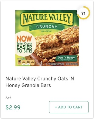 Nature Valley Crunchy Oats'n Honey Granola Bars Nutrition and Ingredients